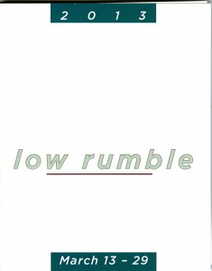 2013 low rumble exhibition catalog cover