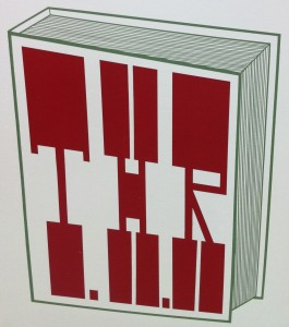 Painting by artist Barry McGee. Illustration of a book with the letters T.H.R. on the cover. The book is white, outlined in green. Text on cover is deep red color and fits entire surface of the book cover.