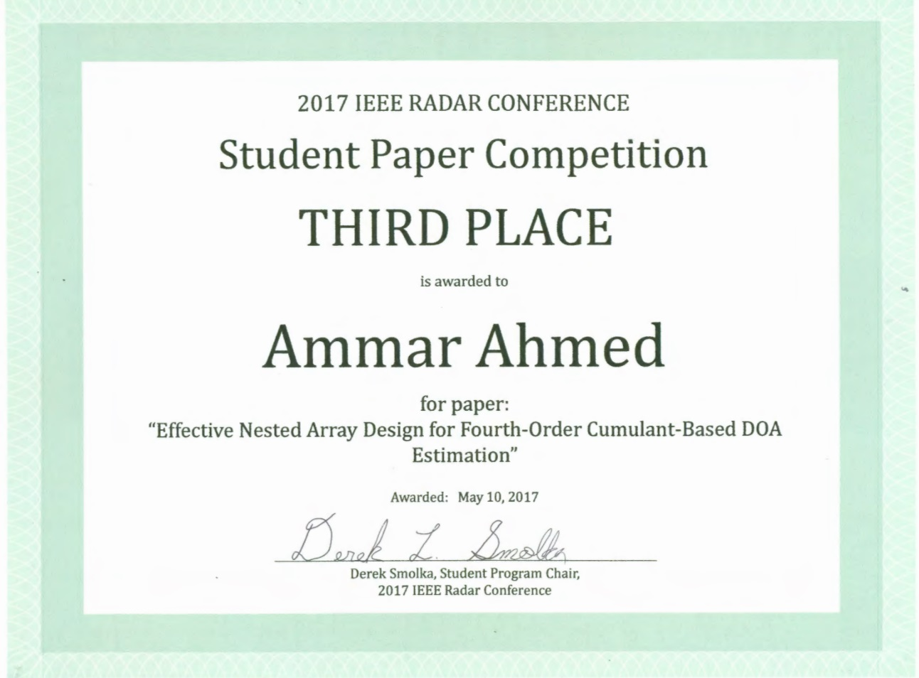 mr ahmed wins student paper award at ieee radarcon advanced