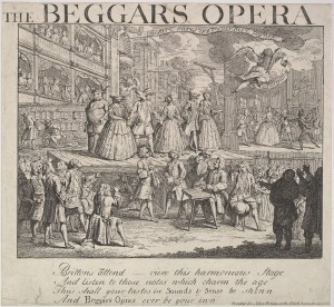 "Inscription: in plate below image: ""Brittons attend -- view this harmonious Stage / And listen to the notes which charm the Age / This shall your tastes in Sounds and Sense be shown / And Beggars Opera ever be your own / Printed for John Bowles at the Black horse in Cornhill"""