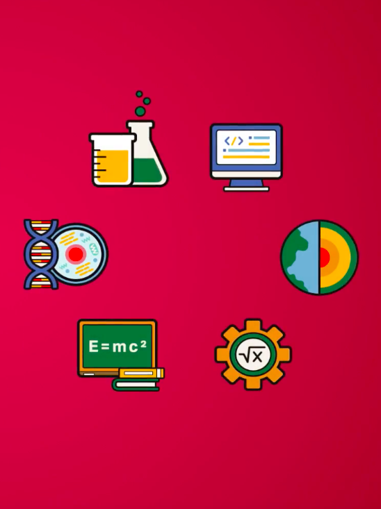 Six CST departmental logos in a circular formation
