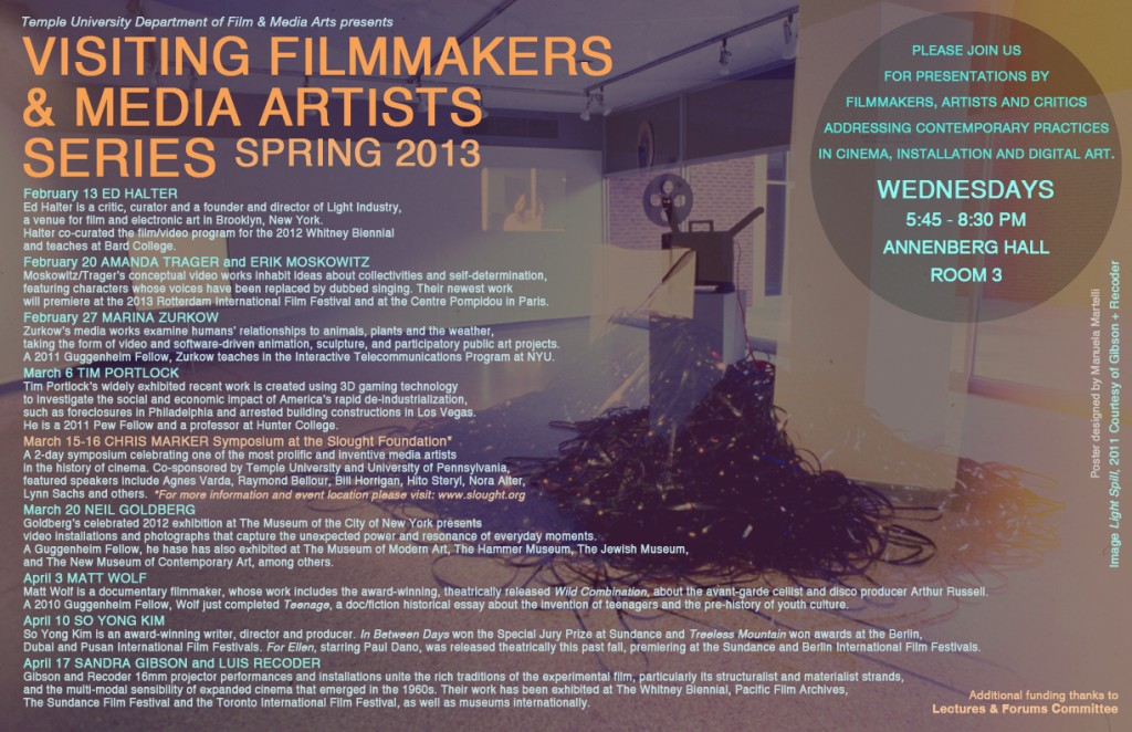 Temple University spring 2013 visiting filmmakers and media artists series