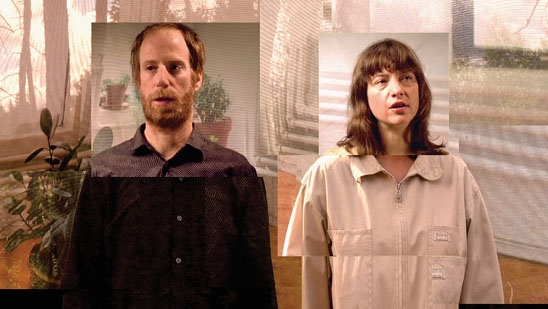 Video still of a man and woman