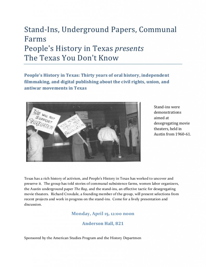 Poster announcement for the People's History in Texas presentation.  Contains an image of protesters picketing segregation in movie theaters.