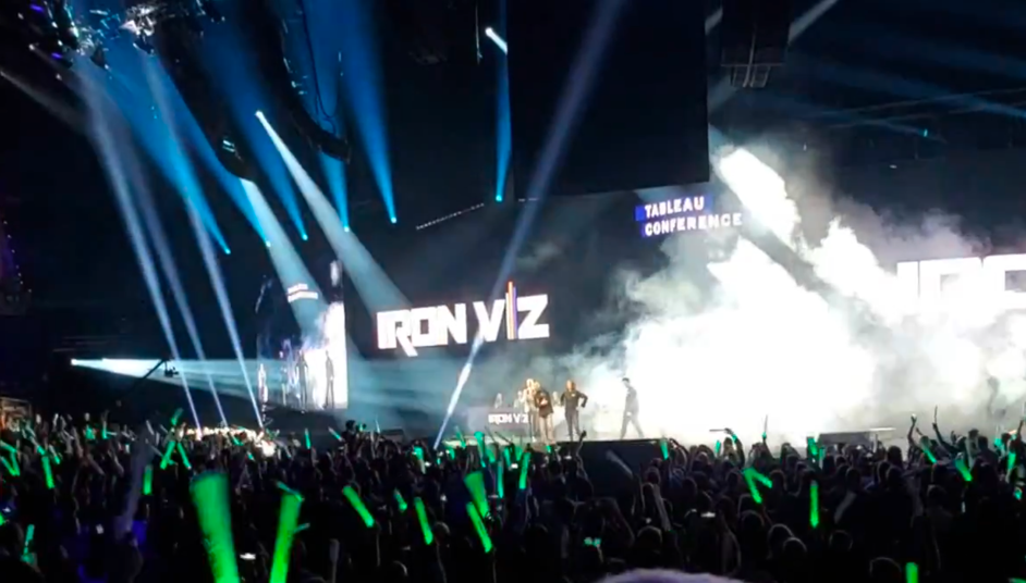 IronViz was a visual production complete with laser lights and fog machines.