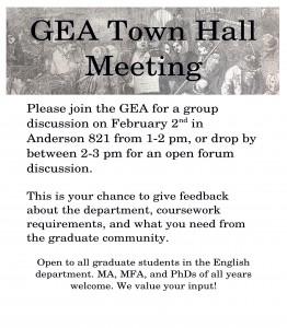GEA town hall flier