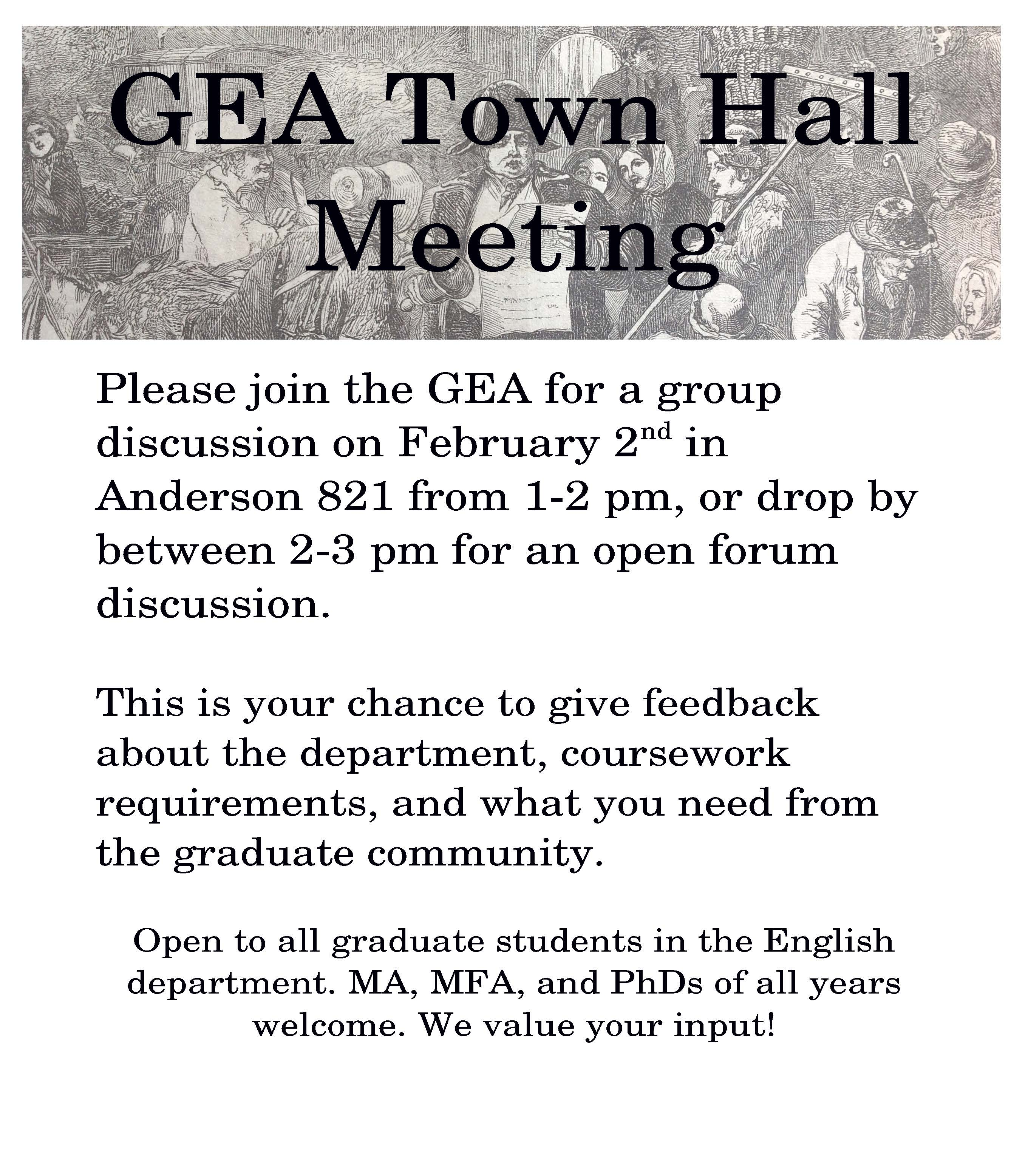 temple gea graduate english association at temple university gea town hall flier