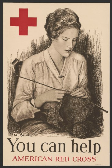 "An American Red Cross poster stating ""You can help"" as a woman sews a textile in the name of the war effort."