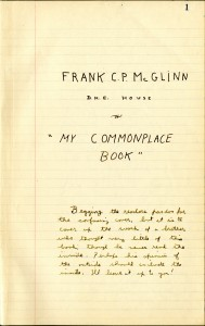 McGlinn commonplace book title page