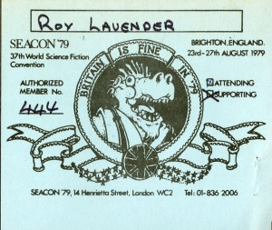 Attendee card for the Seacon convention (37th World Science Fiction Convention), 1979.