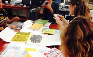 Students working with zines