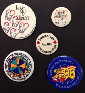 AIDS Library pins