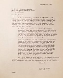 Letter to Levittown community, 1957