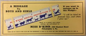 Miss BKind postcard and ruler