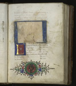 Page with excised coat of arms