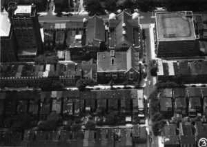 Aerial view of Temple campus, 1960