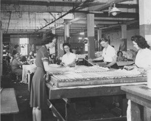 women making casket linings