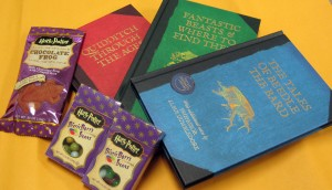 harry potter books, bertie botts beans and chocolate frog candy