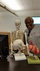 Stan the skeleton and Derrick with heart and skull model