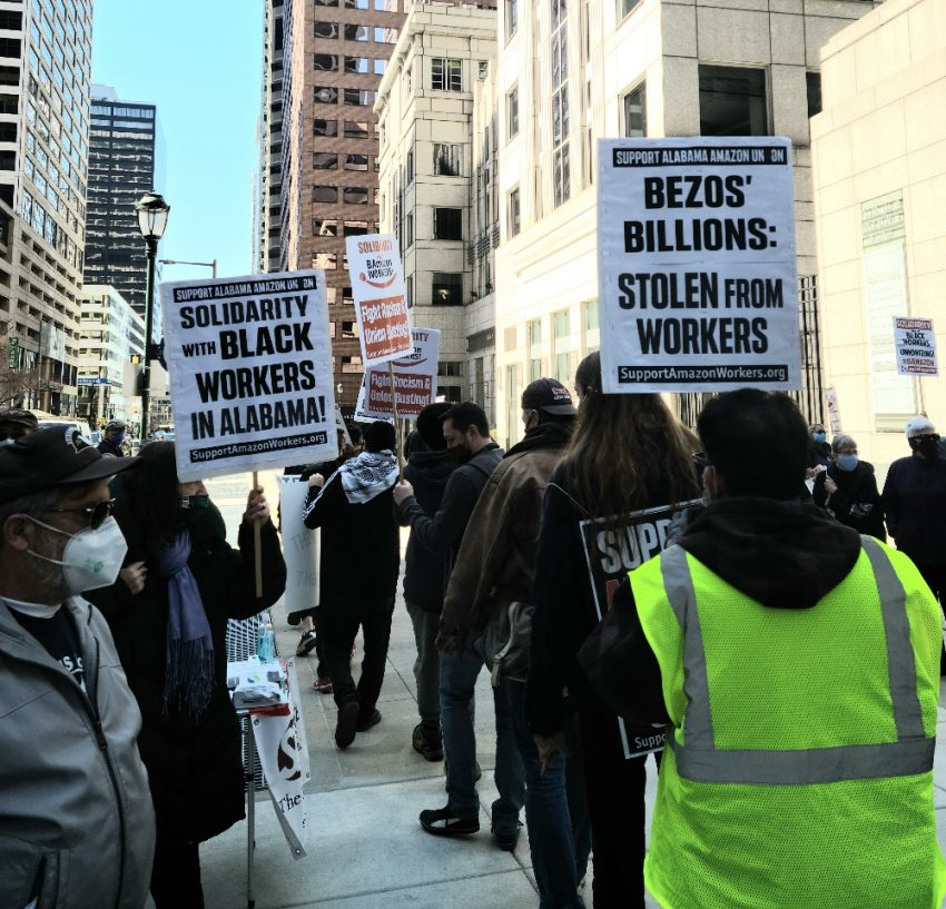 Protesters rally outside of Morgan Lewis, the law firm that represents Amazon in anti-union cases (Photo by Jesse Bunch)