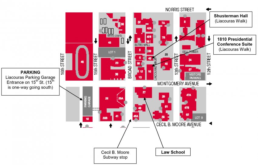 Temple University Map Campus Map | The Continent of International Law Temple University Map
