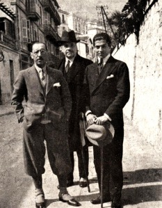 Stravinsky posing in the street with two other men, (linked to larger version).