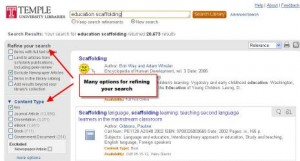 Screenshot of a Summons search result page, (linked to larger version).