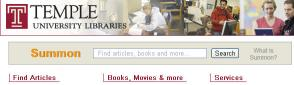Screen shot of the new Summon search box on the Libraries' homepage, (linked to larger version).