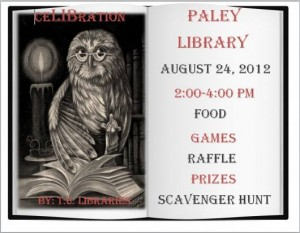 ceLIBration 2012 poster featuring an owl reading a book.
