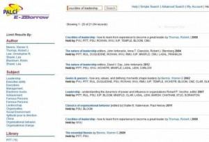 Screenshot showing example of new E-ZBorrow search result screen (linked to larger version).