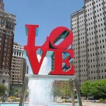 Love Park sculpture in front of fountain in downtown Philadelphia.