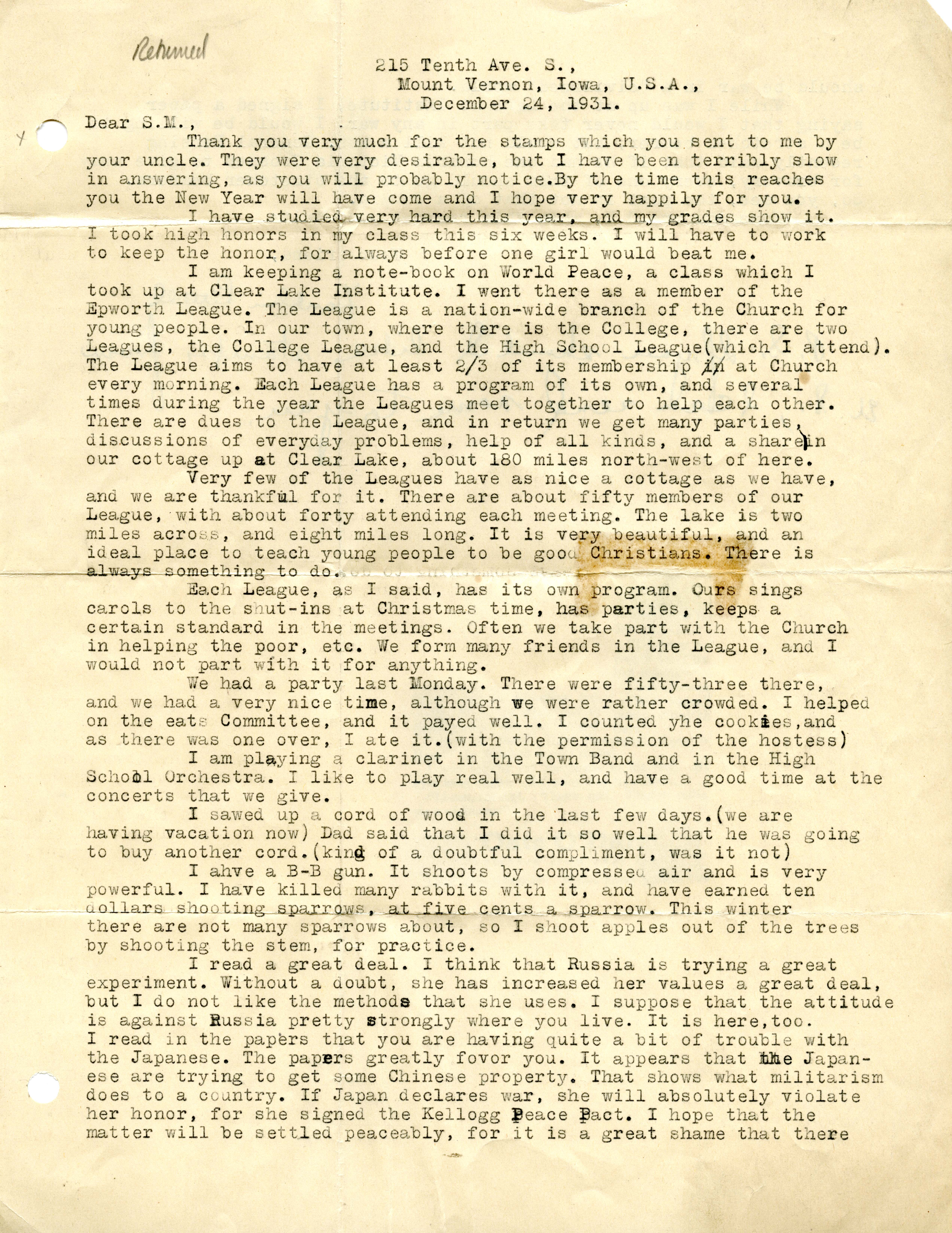 Page one of a typed letter on yellowed paper.