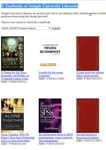 screenshot of the library's e-book - textbook tool