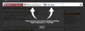 screenshot of the merlot search options