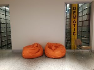 New bean bag chairs by the BookBot viewing window