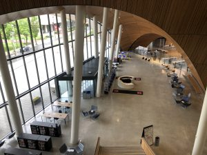 photo of the empty Charles Library atrium