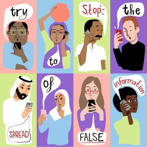 "Illustration of eight people on their phones, with the text ""try to stop the spread of false information"""