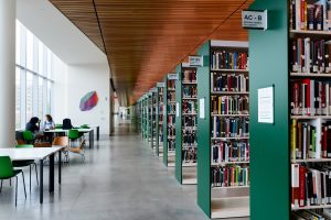 Photo of book stacks in Charles Library
