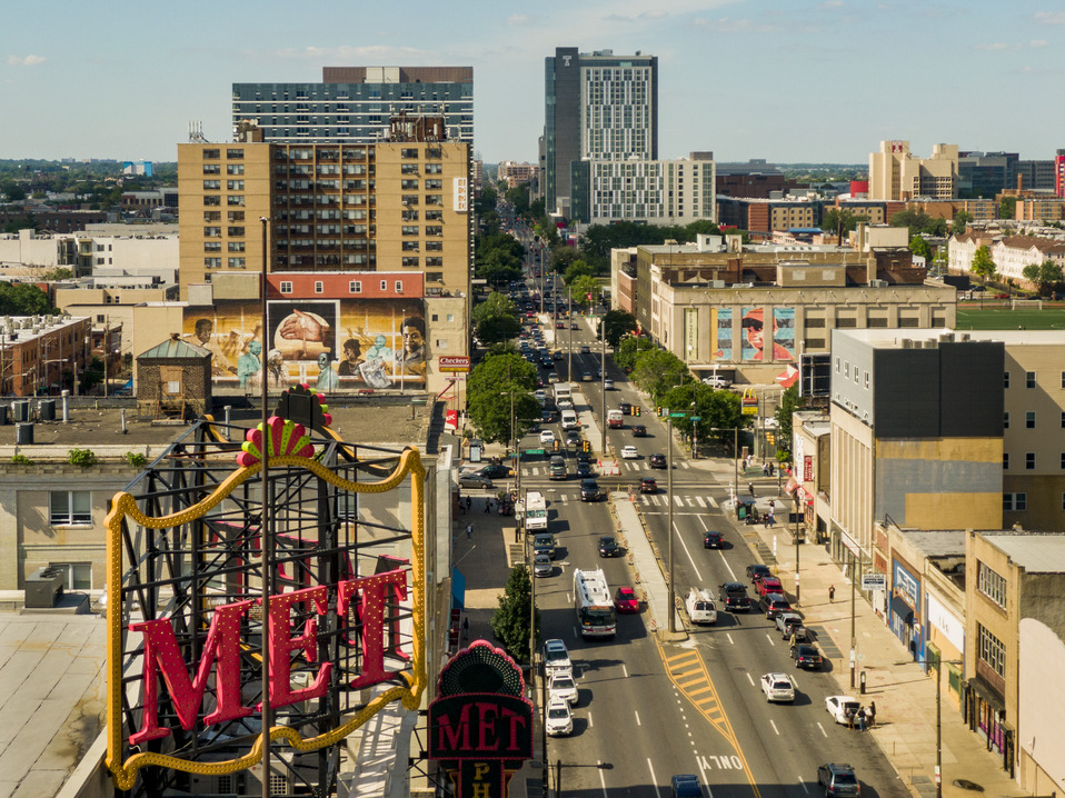 Aerial photo of North Broad Street with Met sign