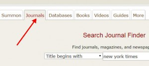 "Screenshot showing how to choose the ""Journals"" tab on the library home page and search the paper by name"