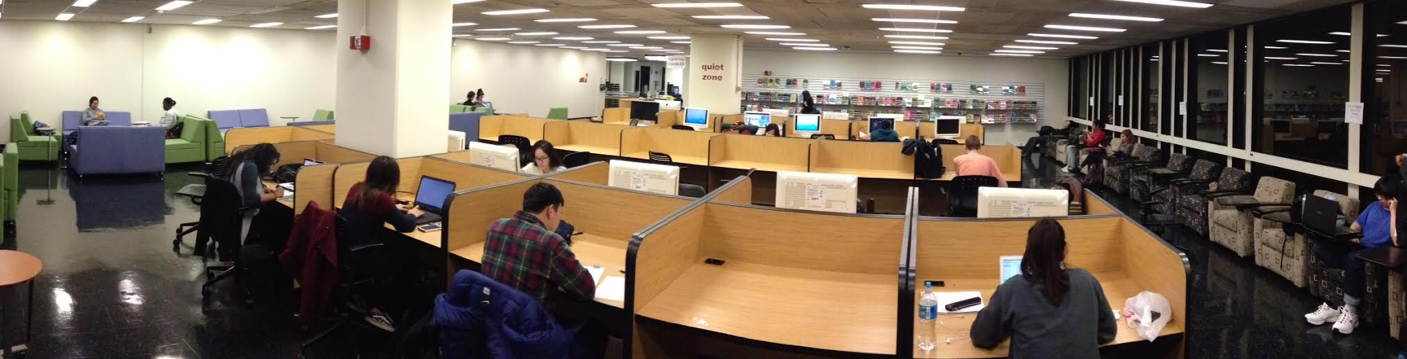 Students studying in Media Services