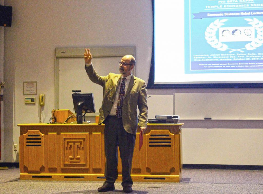 Dimitrios Diamantaras introduces the lecture
