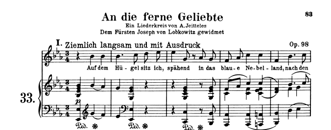 Music Score to Beethoven's An die ferne Geliebte