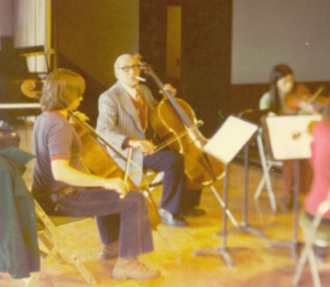 Jeffrey Solow (left) and Gregor Piatigorsky (center) rehearse at the Sitka Summer Music Festival in Alaska