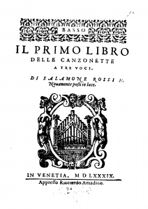 title page of Rossi's 1589 set of madrigals.