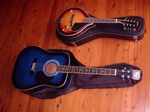 photo of guitar and mandolin