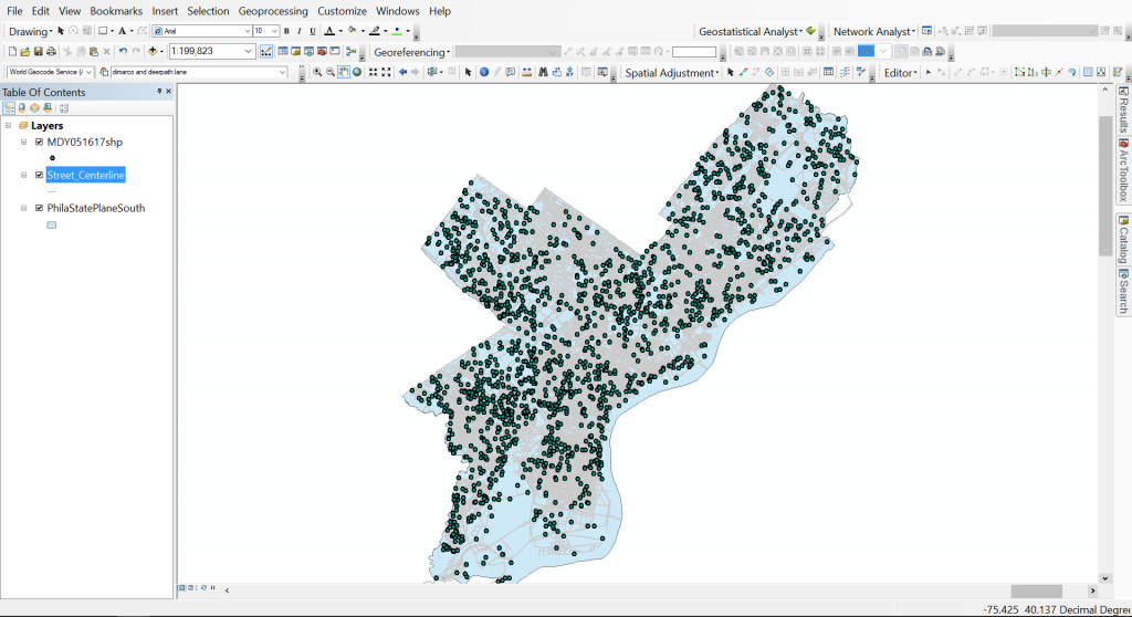 Using Spatial Adjustment for Georeferencing Mosquito Point