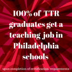 100% of TTR graduates get a teaching job in Philadelphia schools following completion of certification requirements