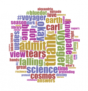 wordcloud of tweet content from #watchingcosmos during the show's finale