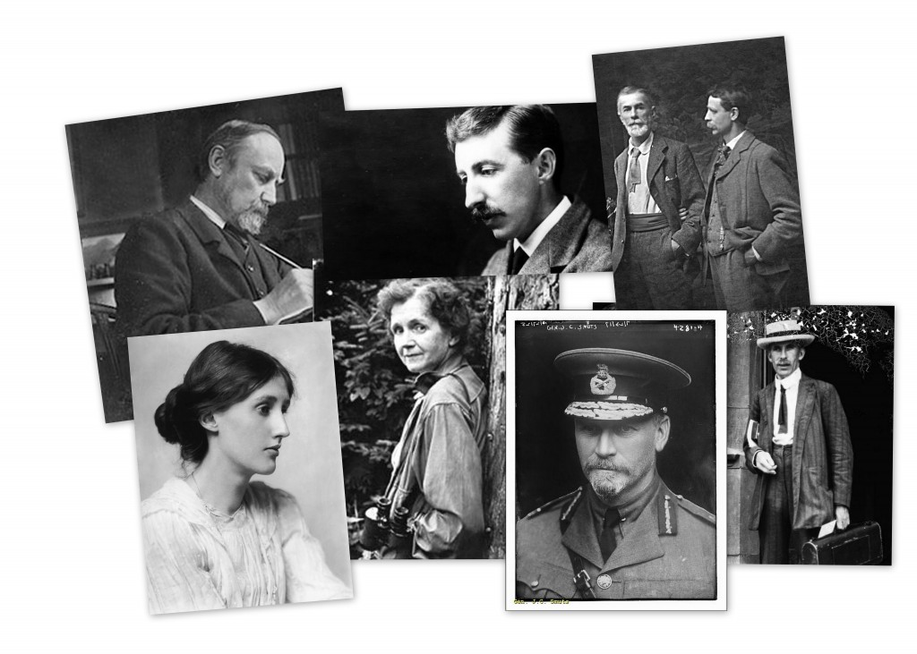 Black and white photo collage of Henry Salt, E. M. Forster, Edward Carpenter, Arthur Tansley, Rachel Carson, Virginia Woolf